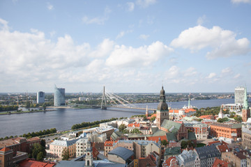 Latvia, Riga rooftop view from church.