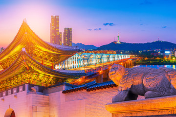 Aluminium Prints Seoul Dongjak Bridge and Han river in Seoul City , South Korea.