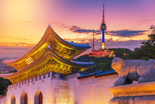 Landmark of Korea with covered Gyeongbokgung n Seoul Tower , South korea