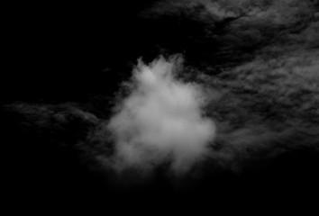 white cloud on black