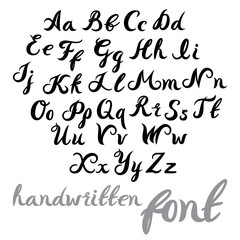 Hand lettering alphabet design, handwritten brush modern calligraphy font. Vector illustration isolated on background