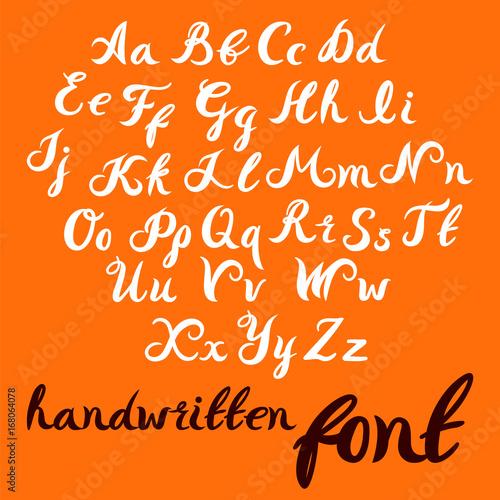 Hand Lettering Alphabet Design Handwritten Brush Modern Calligraphy Font Vector Illustration Isolated On Background
