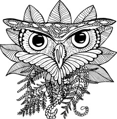 Black And White Illustration Of An Owl Drawing Plants
