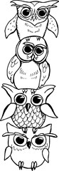 Illustration of a totem of owls. Owls on top of each other