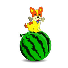 Yellow puppy on top of watermelon, cartoon on white background.vector