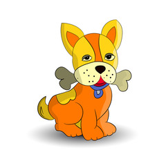 Symbol of the new year 2018, orange dog, holding a bone in the teeth, cartoon on a white background.vector