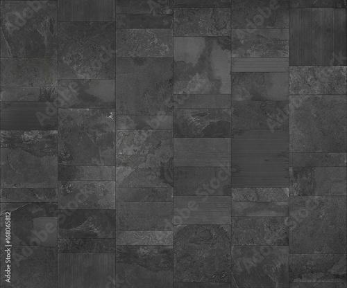 Slate tile ceramic, seamless texture dark gray map for 3d