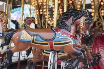 Horses on Merry Go Round in midway at the Indiana State Fair