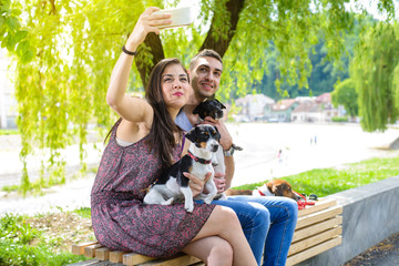 Young couple in park with their Jack Russell terriers