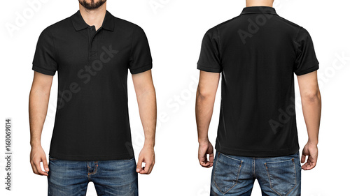 Men In Blank Black Polo Shirt Front And Back View Isolated White Background