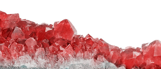 red ruby crystals closeup on white