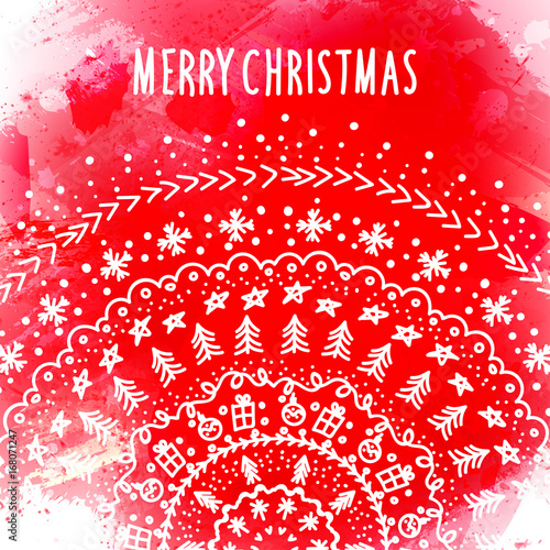Christmas And New Year Greeting Card Template With Doodle Ornament