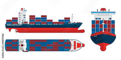 """Cargo Ship Clipart Danasohmk Top: """"Cargo Ship On A White Background. Top, Side And Front"""