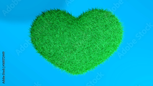 Cuore Verde Con Sfondo Blu Stock Photo And Royalty Free Images On