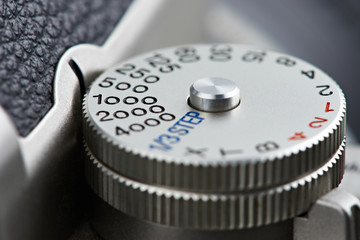 Shutter speed dial on SLR camera