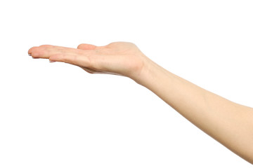 Woman's stretched hand with open palm