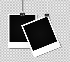 Blank photo frame set hanging on a clip. Vintage Photo Frame. Vector illustration