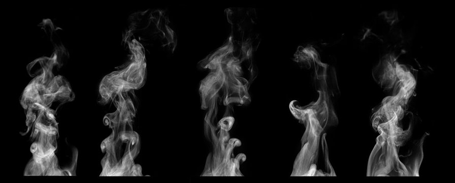 Steam on black background