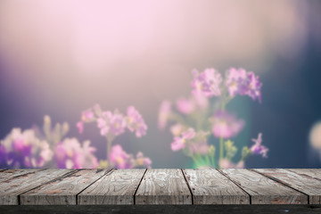 Empty wood Shelf on flower background