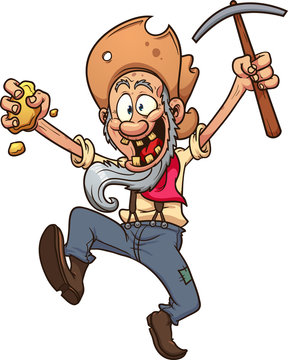 Happy cartoon miner. Vector clip art illustration with simple gradients. All in a single layer.