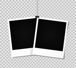Blank photo frame set hanging on a clip. Vintage Photo Frame.Vector
