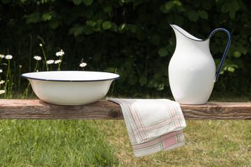 Vintage wash equipment in a garden