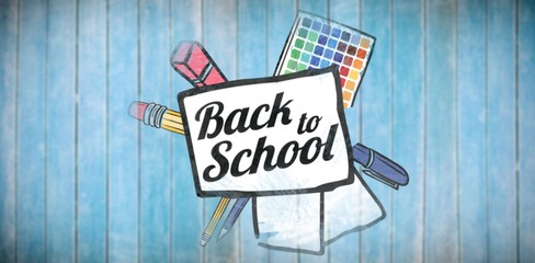 Composite image of back to school text on paper with pen