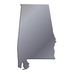 3D Alabama (USA) Aluminium outline map with black shadow