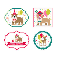 Set of vector elements for birthday design. Labels and Stickers for beverages. Children's holiday