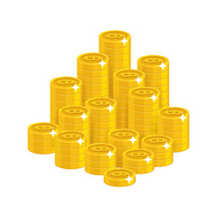 Gold bitcoins mountain cartoon style isolated. The mountain of shiny gold dollars for designers and illustrators. The pile of gold pieces in the form of a vector illustration