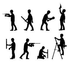 Silhouette of a construction workers, working with tools on a white background. Vector illustration