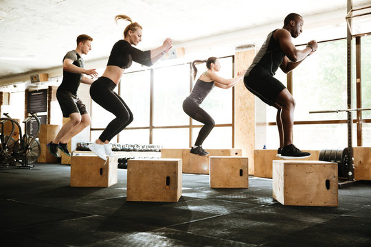 Multiethnic sports strong people make sport exercise jumping