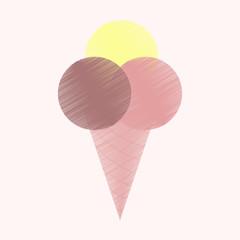 flat shading style icon Ice cream balls