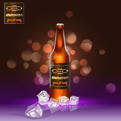 Brown realistic beer bottle with ice in the background.