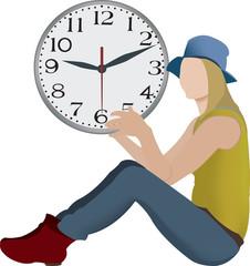 ragazza con orologio in mano tempo libero