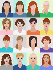Woman's portrait collection, different young women, profile image, girls faces vector illustration