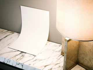 Blank white sheet on the table. 3d rendering