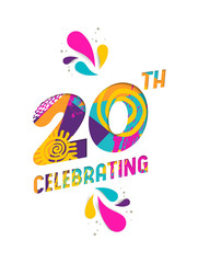 Happy 20 year celebration paper cut greeting card