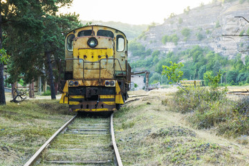 front view of the Diesel locomotive on the railroad