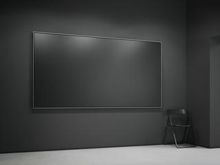 Black blank canvas in the dark gallery. 3d rendering
