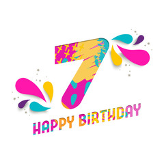 Happy birthday 7 year paper cut greeting card