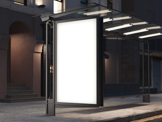 Bus stop with a banner on the dark street. 3d rendering