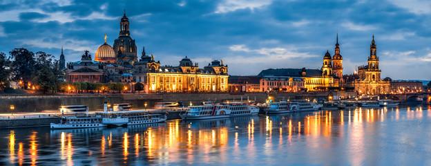 Fotomurales - Skyline von Dresden bei Nacht, Sachsen, Deutschland