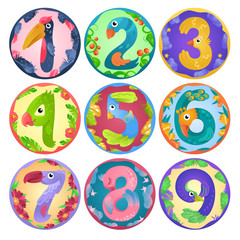 Stickers from numbers like birds in fairy style / There are numbers from one to nine in fairy style like different birds. Each number places separately in round shape with border