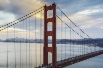 Golden Gate Bridgeat the sunset, San Francisco, California, USA