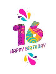 Happy birthday 16 year paper cut greeting card