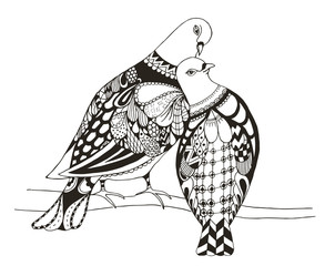 Two birds are sitting on a tree branch, zentangle stylized pigeons, vector, illustration, love. Anti stress coloring books for kids and adults.
