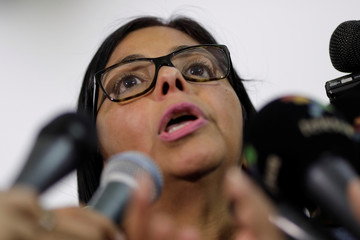 Delcy Rodriguez, president of the National Constituent Assembly, talks to the media after a meeting of the Truth Commission in Caracas