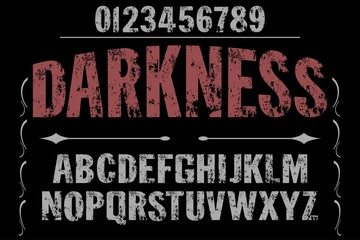 vintage font alphabet handcrafted vector named darkness