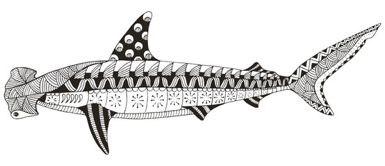 Hammerhead shark zentangle stylized, vector, illustration, pattern, freehand pencil, hand drawn. Anti stress coloring books for kids and adults.